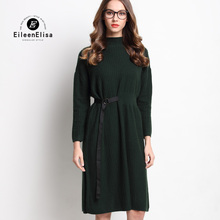 Women Runway Dress 2017 Army Green Long Sweater Loose Dress Luxury Furcal Dresses