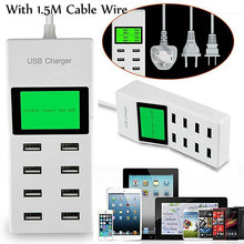 8 USB Ports Led Display US EU UK Plug with LCD Display Wall Charger Adapter For Samsung Galaxy S8 S8 Plus Huawei P10 Xiaomi Mi6
