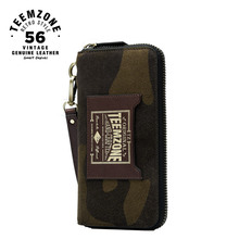 Fashion High Quality Brand Camouflage green Genuine Leather Men Long Wallet With Wrist Strap Male Clutch Bag Function Wallets 50