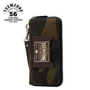 Image 1 - Moda wysoka marka jakości zielony moro prawdziwej skóry długi portfel męski z paskiem na nadgarstek męska kopertówka funkcja portfele 50