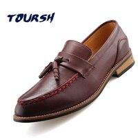 TOURSH Fashion Hot Sprzedaż Mężczyzna Przypadkowi Buty Męskie Skórzane Buty Sukienka Buty Ślubne Oddychające Biznes Buty Slip-On Mieszkania rozmiar 39
