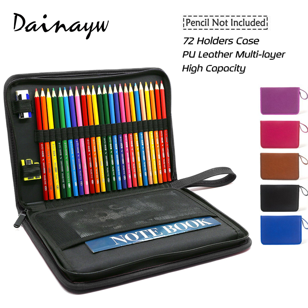 High Quality 72 Holder PU Leather Multi-layer School Pencils Case Large Capacity Pencil Bag Pouch Brush Pocket For Art Supplies 72 holes canvas pencil case folded brush holder pouch case with zipper storage pockets bag gifts school stationery art supplies