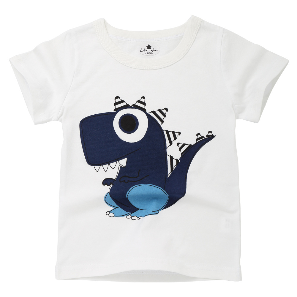 2019 Summer Children T Shirt Short Sleeve Cartoon Dinosaur Print Boys Girls Casual Cotton Top Kids t shirt Casual Clothes New in T Shirts from Mother Kids
