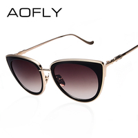 AOFLY Metal Frame Cat Eye Women Sunglasses Female Sunglasses Famous Brand Designer Alloy Legs Glasses Oculos