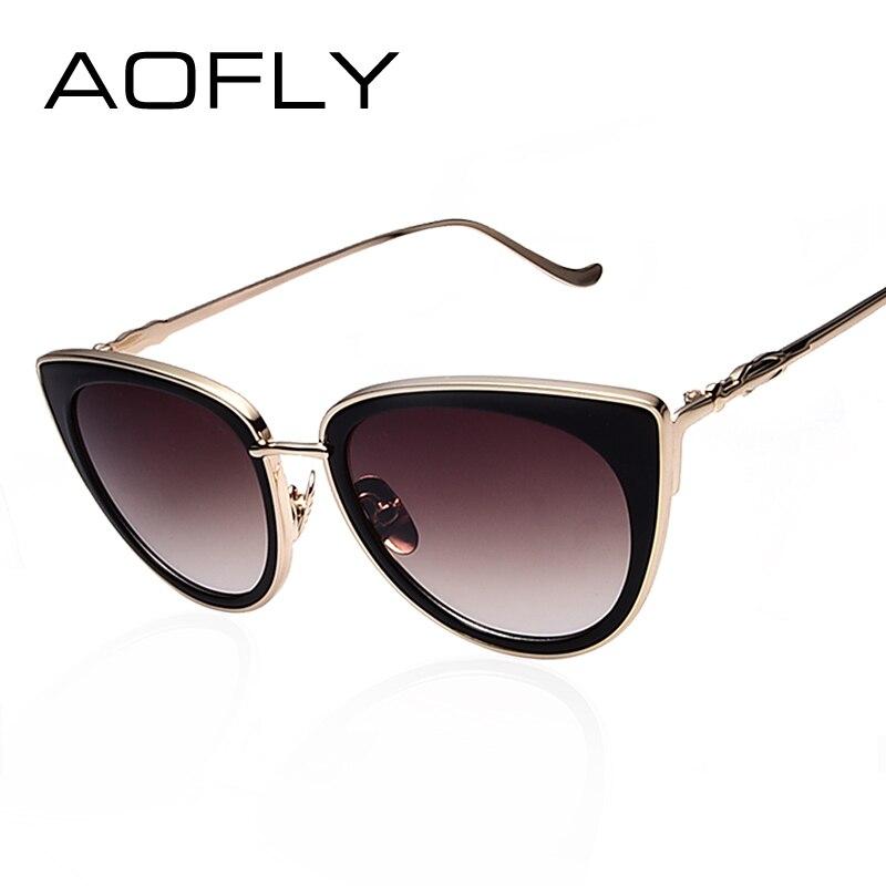 AOFLY Metal Frame Cat Eye Women Sunglasses Female Sunglasses Famous Brand Designer Alloy Legs Glasses Oculos