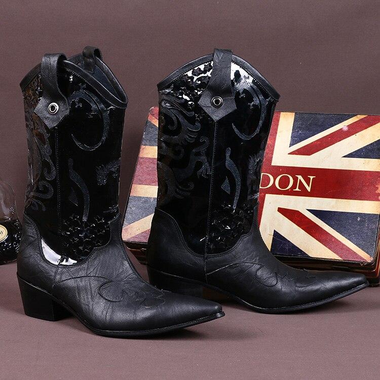 Broderie martin bottes hommes chaussures d'hiver cowboy bottes hommes en cuir véritable bout pointu punk chaussures cuisse haute longue armée bottes