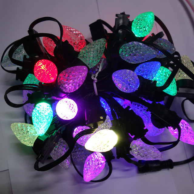 C7 LED addressable WS2811 DC12V 8mm technicolor pixel string;50nodes/strand;all black wire and case;IP67