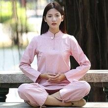 fb67367dc1e8 Femmes Yoga Costume Lâche Pantalon Tops Ensemble Femelle kung fu Tai Chi  Vêtements Dames Linge En Plein Air Vêtements De Yoga Mé..