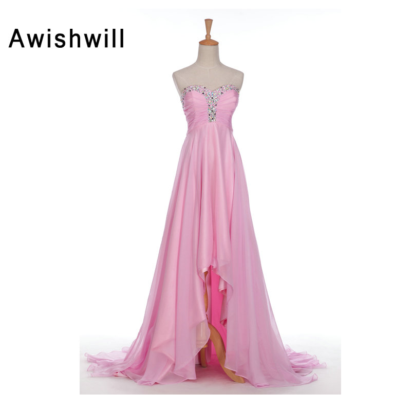 Pink Long Evening Dresses Sexy Sweetheart Neckline Sweep Train Beaded Chiffon Asymmetrical Prom Party Gowns Real Photos