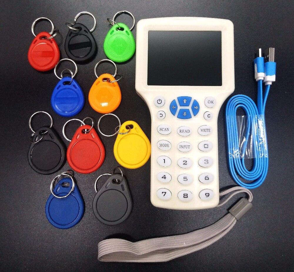 Aktualisiert Version RFID Copier Leser Schriftsteller Cloner Kopie 10 Frequenz programmierer + 5 125 khz T5577 Keyfobs + 5 13,56 mhz UID Keyfobs