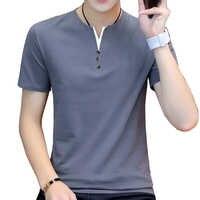 BROWON haut d'été hommes T-shirt décontracté à manches courtes coton affaires T-shirts hommes Slim Fil couleur unie coton T-shirt hommes mode