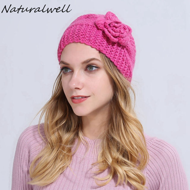 Naturalwell Women Winter Fashion Flower Crochet Headband Girls