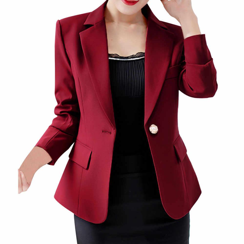 JAYCOSIN 女性エレガントな女性のブレザースーツ長袖ボタン作業オフィスソリッドブレザースリムジャケットコートコート Feminino ジャケット