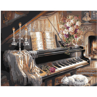 40x50cm Framed Pictures Paint By Numbers Old Piano Diy Digital Oil Painting By Numbers For Home