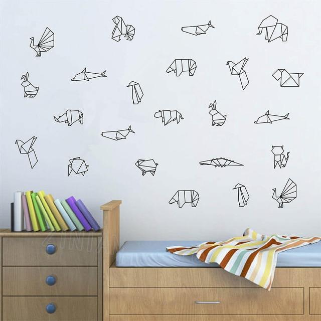 US $5.99 25% OFF|DIY Origami Animals Vinyl Wall Decal Bedroom Geometric  Wall Tattoo Pattern Kids Room Decoration Nursery Stickers Wallpaper Z610-in  ...