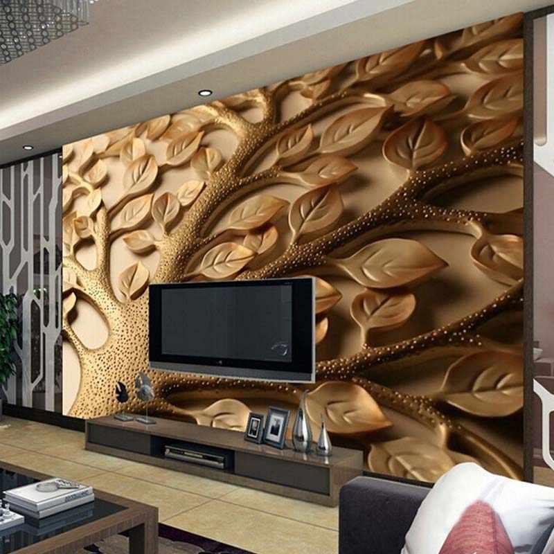 Custom 3D קיר טפט מודרני מופשט הקלה עלים קיר ציור סלון חדר שינה אמנות קיר טפט Papel דה פארדה 3D