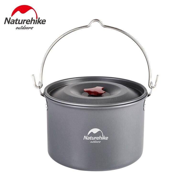 Naturehike 4 6 Person Hard Alumina Pot Outdoor Hanging Pot Camping Picnic Cookware Campfire Pot Food