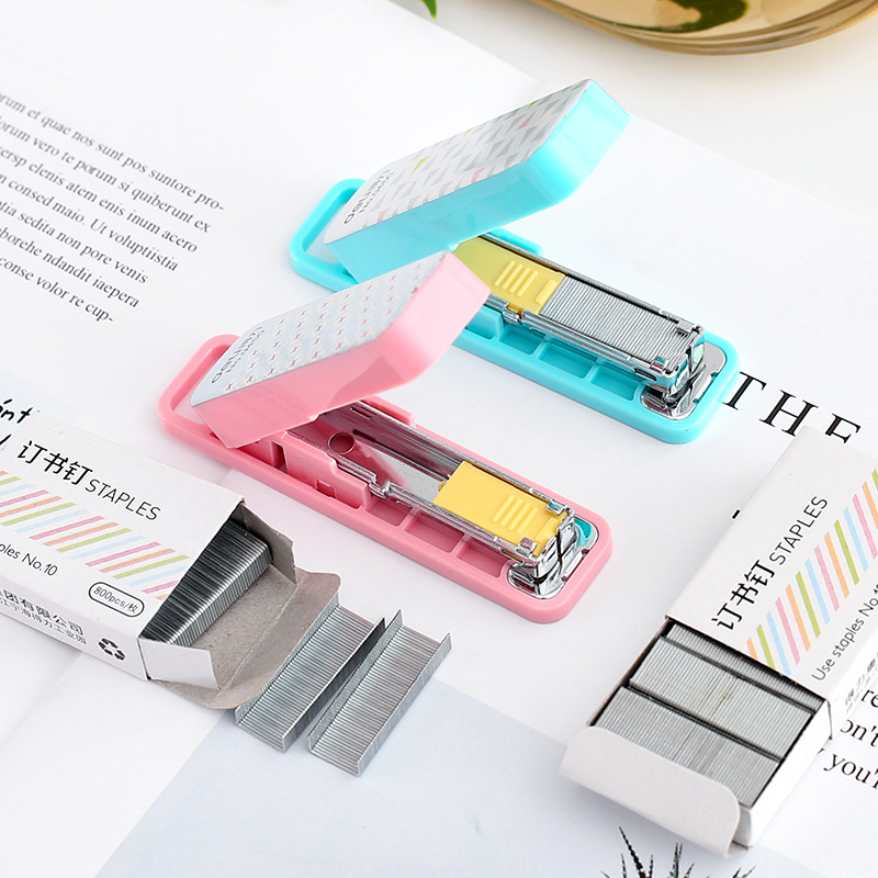 цена на Geometric manual stapler No. 10 silver Staples set Mini grapadora papelaria Stationery office accessories school supplies A6573