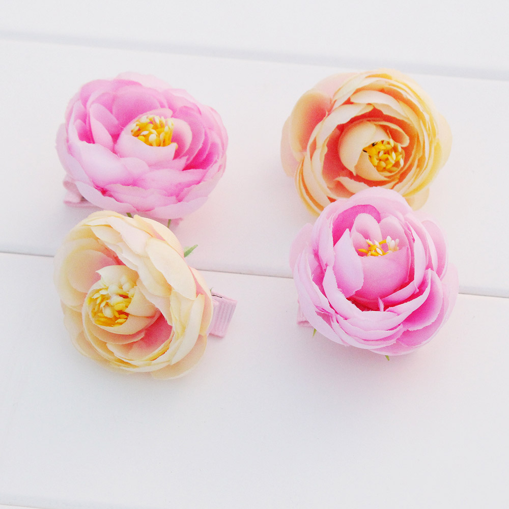 2PCS/LOT Tea Rose Handmade Flower Hair Clip Female Girls Floral Headwear Barrettes Children Kids Hair Ornament For Party Wedding handmade big fabric rose flower headband hair garland wedding headpiece floral crown 12 colors