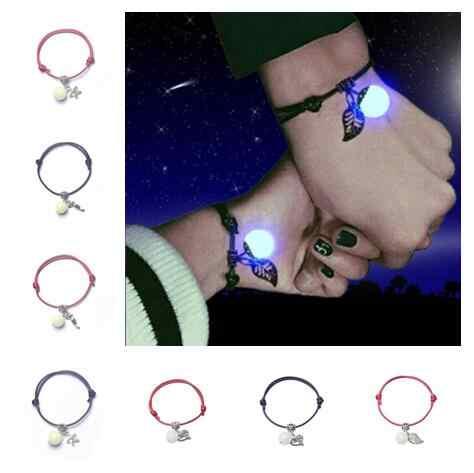 Sl 0236 корейский этнический стиль мода пара камень ручной обработки светящиеся пятиконечные звезды с изображением сердца, листков браслет унисекс черный и красный rop