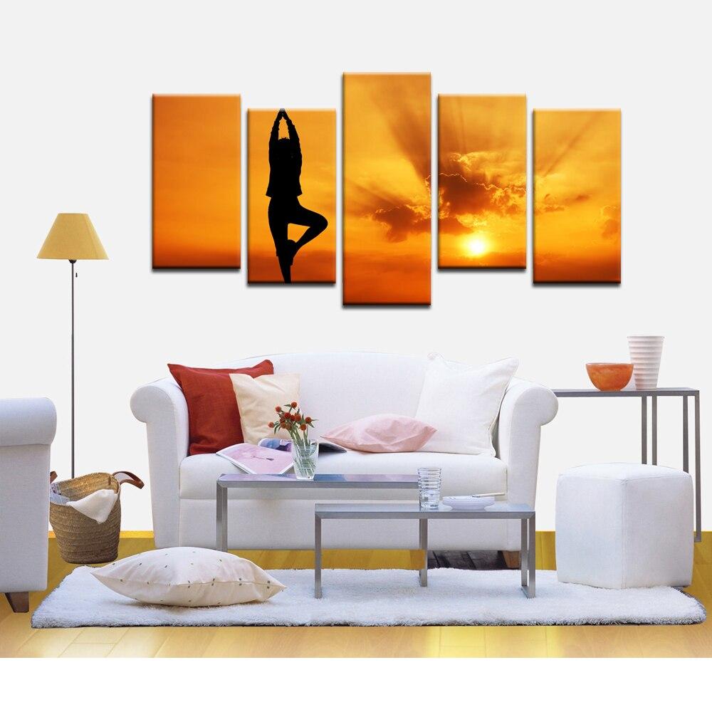arte de la pared pintura seora haciendo yoga saln de belleza decoracin del hogar pinturas moderna