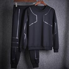 Amberheard Мода 2017 г. осень Для мужчин спортивные костюм Толстовка + штаны тренировочный комплект из 2 частей спортивный костюм для Для мужчин спортивная одежда