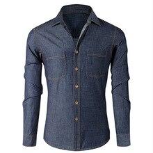2016 autumn wear cowboy leisure pure color lapel long-sleeved shirt