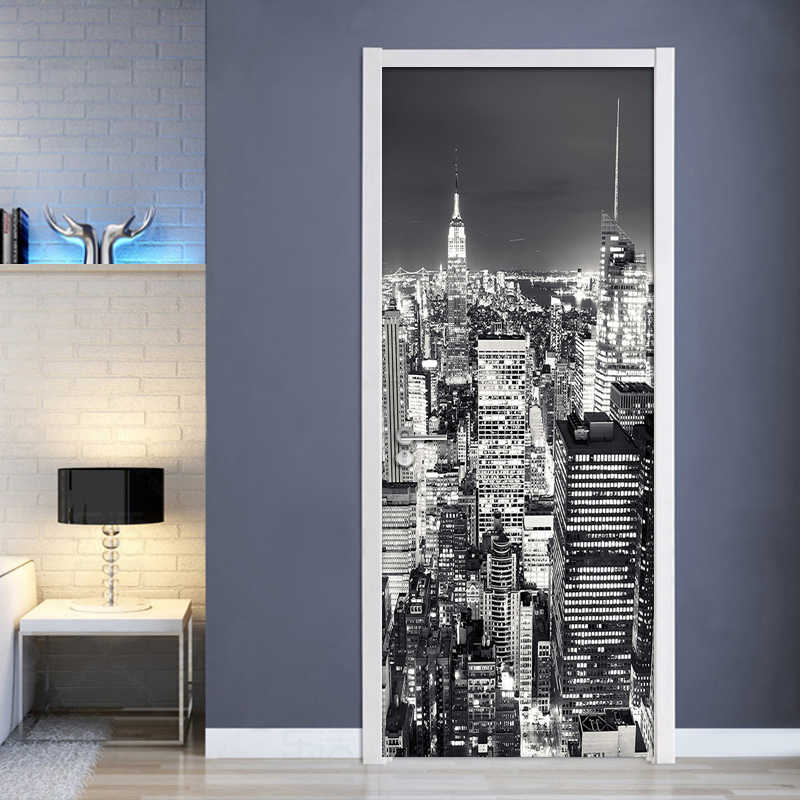 3D Wallpaper Black White City Building Scenery Mural Living Room Study Room Door Sticker PVC Self Adhesive Waterproof Wall Paper