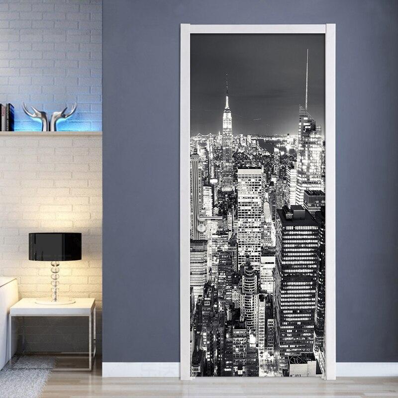 3D Behang Zwart Wit Stad Gebouw Landschap Muurschildering Woonkamer Studeerkamer Deur Sticker PVC Zelfklevende Waterdichte Wand Papier