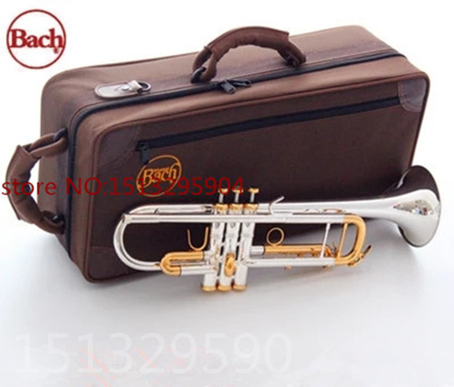 trumpet Bach Silver-plated body gold key LT180S-72 B flat professional trumpet bell Top musical instruments Brass horn  one horn double row 4 key single french horn fb key french horn with case surface gold lacquer professional musical instrument
