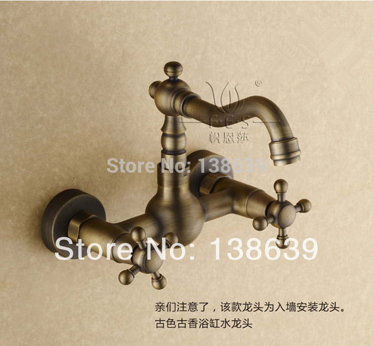 Free shipping Luxury dual handles kitchen faucet antique wall munted kitchen sink mixer tap faucet bathroom