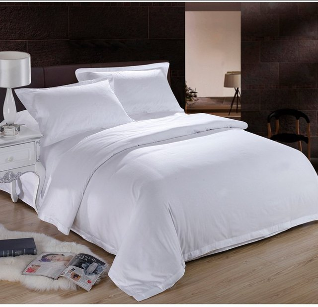 Attrayant Pure White Hotel Home Textile 100% Cotton Bedding Set Queen King Size 4pc  Solid Color