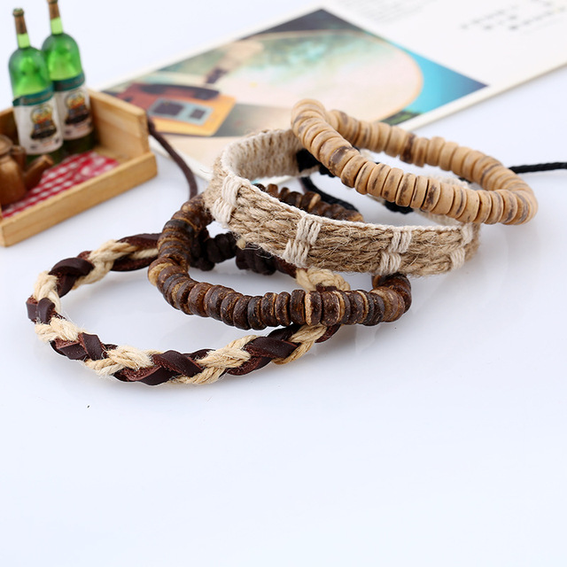 Fashion Braided Handmade Vintage Leather Bracelet set with Beaded Handmade Bracelet and Braided Rope