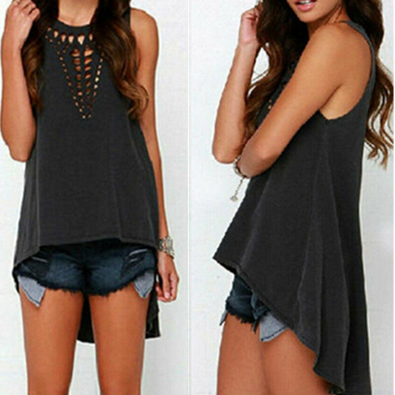 Sexy Hollow Out   Top   Summer   Tank     top   Women big size camisole Blouse Sleeveless Loose   Top   Female t-shirt Vest Casual Camis W3