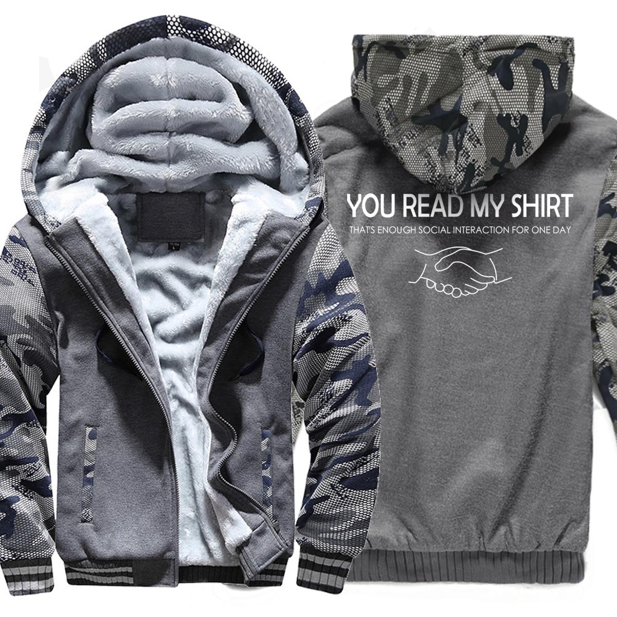 Vous avez lu ma chemise lettre imprimé pulls à capuche de mode hommes 2019 marque chaude Camouflage sweat hiver polaire épais à capuche survêtements