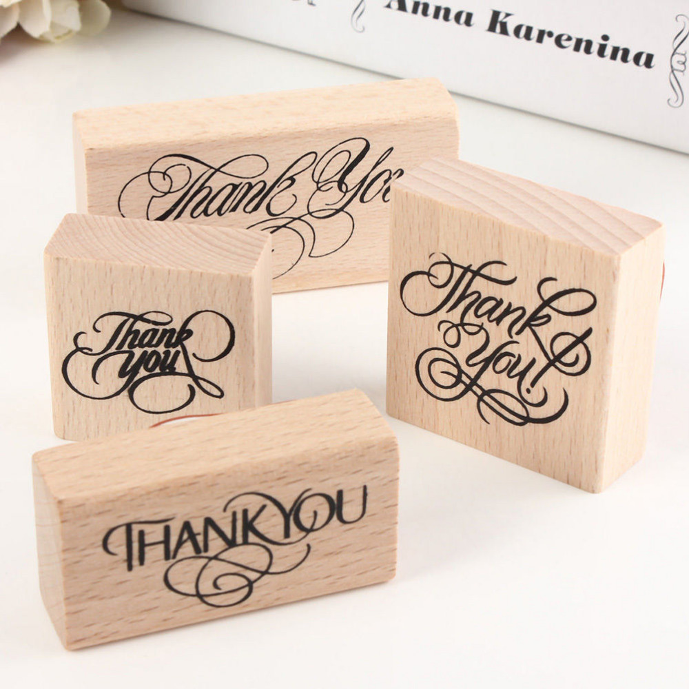 Rubber stamps arts and crafts - 1pcs Hot Sale Wooden Rectangle Stamp Rubber Craft Favour Scrapbooking Thank You Love Stamps 4 Sizes