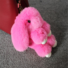 Fluffy Faux Rex Rabbit Fur Keychain Pompom Bunny Keyring Women Trinket Hare Car Key Ring Holder Dolls Bag Charms Jewelry Gift