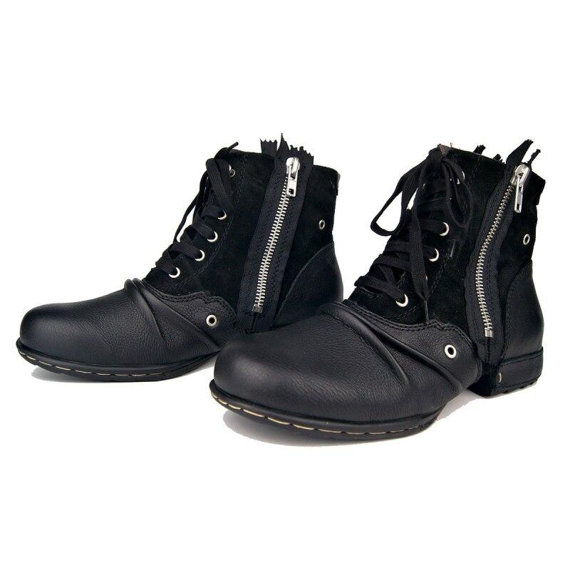 Grande taille Vintage Zipper hommes bottes de travail de haute qualité bout rond en cuir véritable cheville bottes décontracté bottes d'équitation Zapatos Hombre - 5
