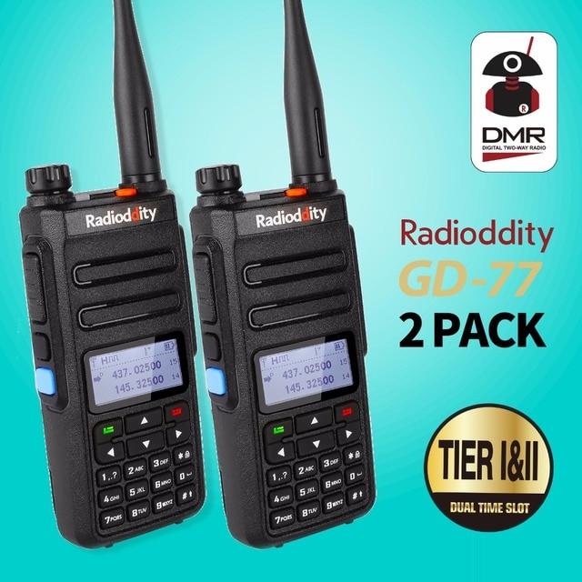 1 çift Radioddity GD 77 Dual Band çift zaman dilimi dijital iki yönlü telsiz Walkie Talkie telsiz DMR Motrobo katman 1 katmanlı 2 kablo