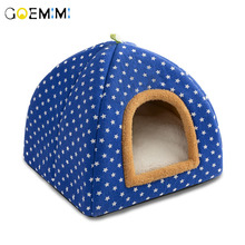 Pet Cat Cave House Foldable Tent Soft Dog Bed Stars Pattern Cute Kennel Nest Small Animals Puppy Chihuahua With Mat