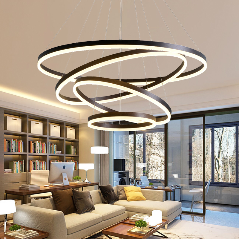 ANN chandelier Living room chandelier modern minimalist creative personality round Nordic restaurant bedroom bar led chandelier nordic minimalist modern bar with balcony hanging in the bedroom living room creative personality single head cafe
