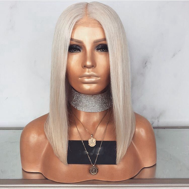 DLME Ash Blonde Bob Lace Front Wigs With Baby Hair Heat Resistant Synthetic Wig 180% Density 14Inch Short Wigs For Black Women ...