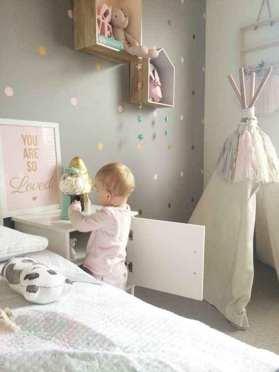 الذهب منقطة الاطفال غرفة الطفل غرفة ملصقات جدار الأطفال ديكور المنزل الحضانة صور مطبوعة للحوائط ملصقات جدار للأطفال غرفة خلفية
