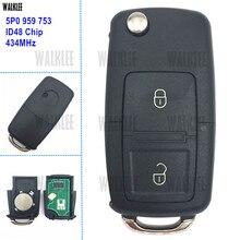 WALKLEE Veículo Carro Remoto Chave 434 MHz para SEAT/SKODA/VW/VOLKSWAGEN 5P0959753 5P0 959 753 Porta Controle de bloqueio com o Chip ID48