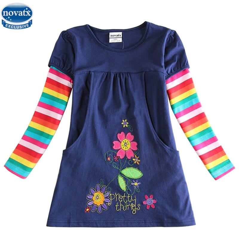 novatx H5802 kids princess girl dress 2017 full sleeve floral high quality dresses girl clothes children baby girl dresses kids