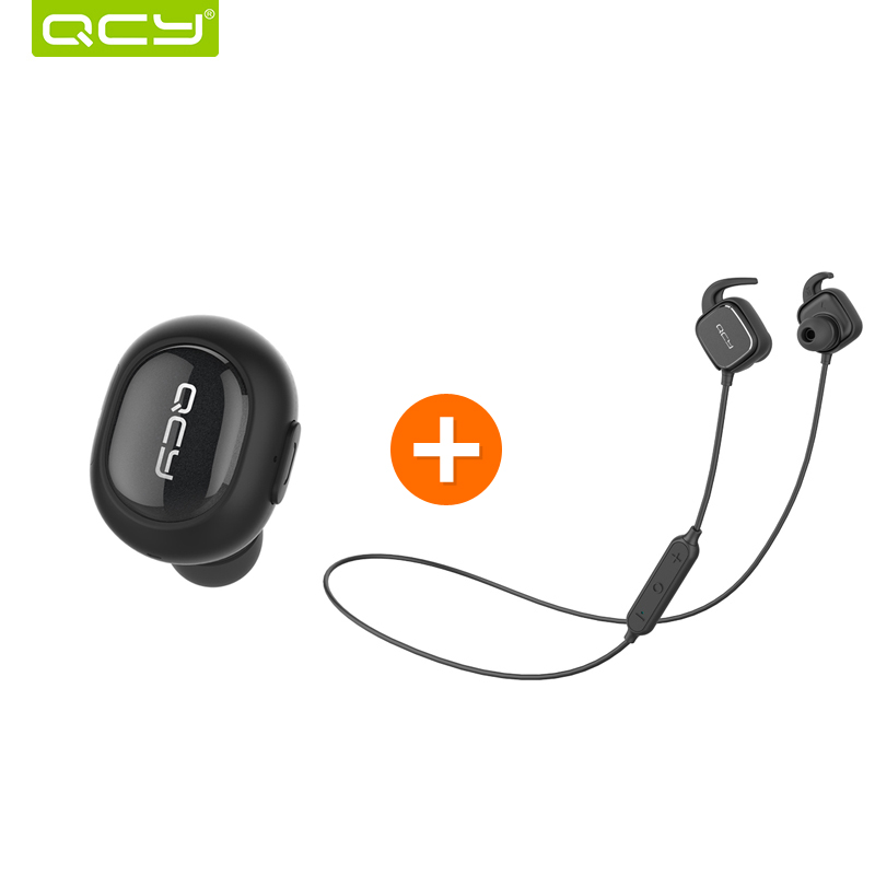 QCY Q26 mini earphone wireless Invisible headphone bluetooth 4.1 noise canceling earbud and QY12 stereo sports headphone headset qcy q26 mono earbud business mini headset car calling wireless headphone bluetooth earphone with mic for iphone 6 7 s8 android