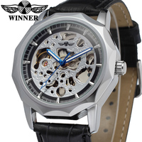 WRG8033M3S2 Automatic Dress Skeleton With Black Leather Band Men Stainless Steel Buckle Wristwatch Latest Winner Free
