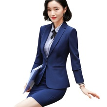 2018 New Fashion Interview skirt suits women OL business office slim long sleeve blazer with skirt plus size formal work wear