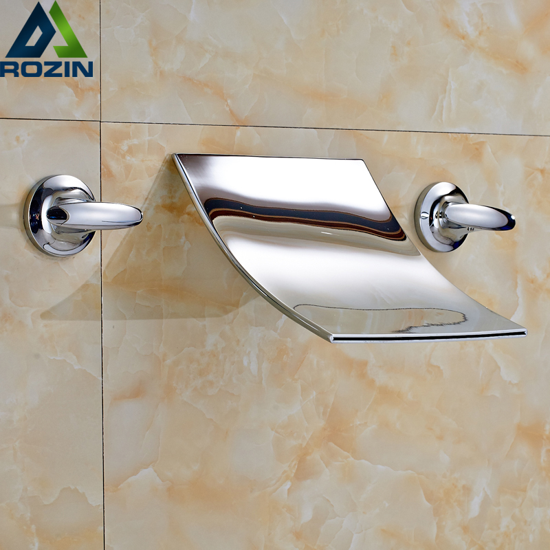 Polished Chrome Waterfall Flow Bathroom Sink Basin Mixer Faucet Double Handles Wall Mounted Mixer Taps free shipping high quality bathroom toilet paper holder wall mounted polished chrome