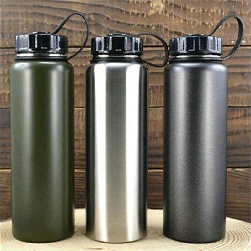 2 Color Stainless Steel Water Drink Bottle Sports School Bike Bicycle 1000ml New